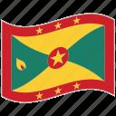 flag, grenada, grenada flag, national flag, waving flag, world flag