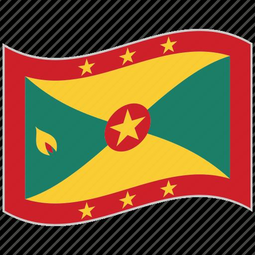 flag, grenada, grenada flag, national flag, waving flag, world flag icon
