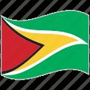 flag, guyana, guyana flag, national flag, waving flag, world flag
