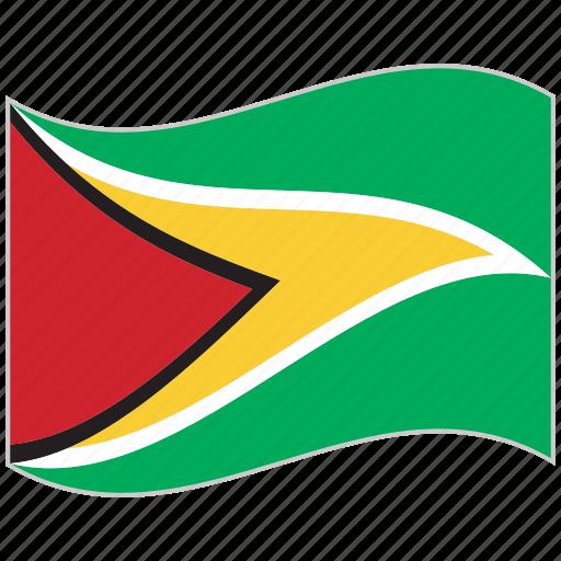 flag, guyana, guyana flag, national flag, waving flag, world flag icon