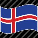 flag, iceland, iceland flag, national flag, waving flag, world flag