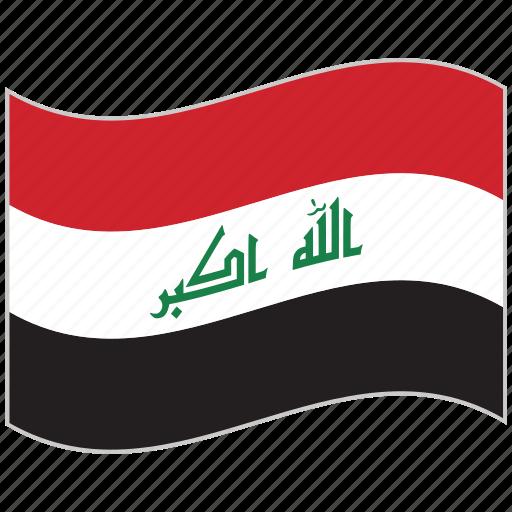 flag, iraq, iraq flag, national flag, waving flag, world flag icon