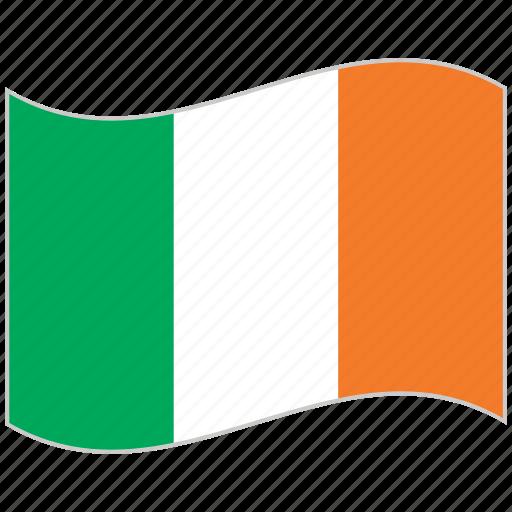 flag, ireland, ireland flag, national flag, waving flag, world flag icon