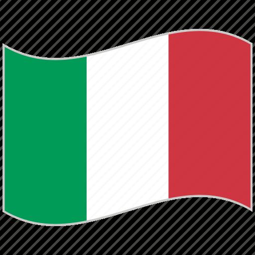 flag, italy, national flag, utaly flag, waving flag, world flag icon