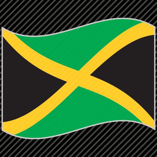 flag, jamaica, jamaica flag, national flag, waving flag, world flag icon