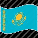 flag, kazakhstan, kazakhstan flag, national flag, waving flag, world flag