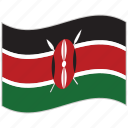 flag, kenya, kenya flag, national flag, waving flag, world flag icon