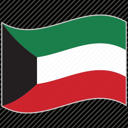 flag, kuwait, kuwait flag, national flag, waving flag, world flag icon