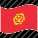 flag, kyrgyzstan, kyrgyzstan flag, national flag, waving flag, world flag