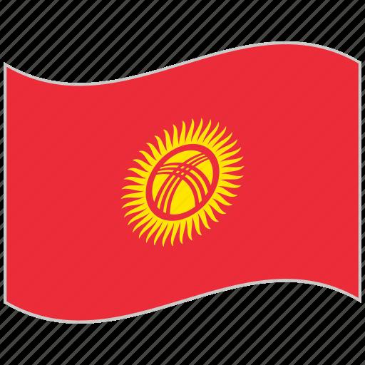 flag, kyrgyzstan, kyrgyzstan flag, national flag, waving flag, world flag icon