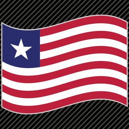 flag, liberia, liberia flag, national flag, waving flag, world flag icon