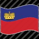 flag, liechtenstein, liechtenstein flag, national flag, waving flag, world flag
