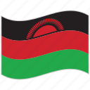 flag, malawi, malawi flag, national flag, waving flag, world flag icon