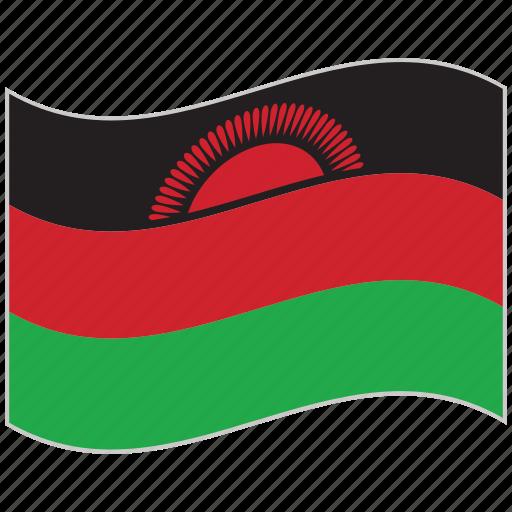 flag, malawi, malawi flag, national flag, waving flag, world flag icon