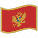 flag, montenegro, montenegro flag, national flag, waving flag, world flag icon