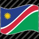 flag, namibia, namibia flag, national flag, waving flag, world flag