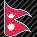 flag, national flag, nepal, nepal flag, waving flag, world flag icon