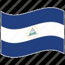 flag, national flag, nicaragua, nicaragua flag, waving flag, world flag icon