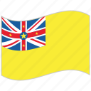 flag, national flag, niue, niue flag, waving flag, world flag icon