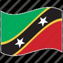 flag, national flag, saint kitts and nevis, saint kitts and nevis flag, waving flag, world flag icon