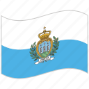 flag, national flag, san marino, san marino flag, waving flag, world flag icon