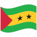 flag, national flag, sao tome and principe, sao tome and principe flag, waving flag, world flag icon