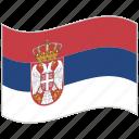 flag, national flag, serbia, serbia flag, waving flag, world flag