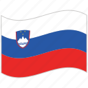 flag, national flag, slovenia, slovenia flag, waving flag, world flag