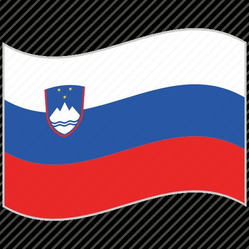 flag, national flag, slovenia, slovenia flag, waving flag, world flag icon