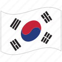 flag, national flag, south korea, south korea flag, waving flag, world flag icon