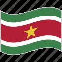 flag, national flag, suriname, suriname flag, waving flag, world flag