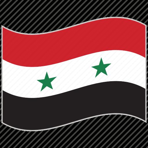 flag, national flag, syria, syria flag, waving flag, world flag icon