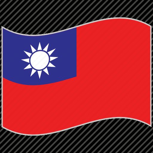 flag, national flag, taiwan, taiwan flag, waving flag, world flag icon