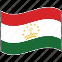 flag, national flag, tajikistan, tajikistan flag, waving flag, world flag