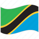 flag, national flag, tanzania, tanzania flag, waving flag, world flag icon