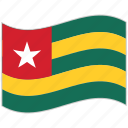 flag, national flag, togo, togo flag, waving flag, world flag icon