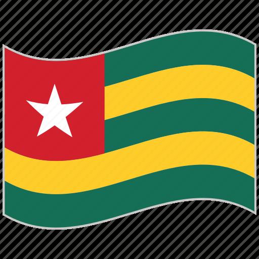 flag, national flag, togo, togo flag, waving flag, world flag icon