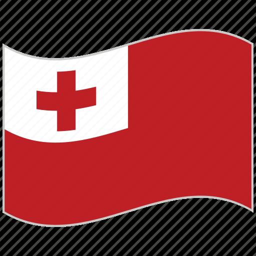 flag, national flag, tonga, tonga flag, waving flag, world flag icon