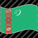 flag, national flag, turkmenistan, turkmenistan flag, waving flag, world flag icon