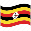 flag, national flag, uganda, uganda flag, waving flag, world flag icon