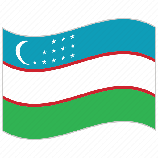 flag, national flag, uzbekistan, uzbekistan flag, waving flag, world flag icon