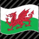 flag, national flag, wales, wales flag, waving flag, world flag