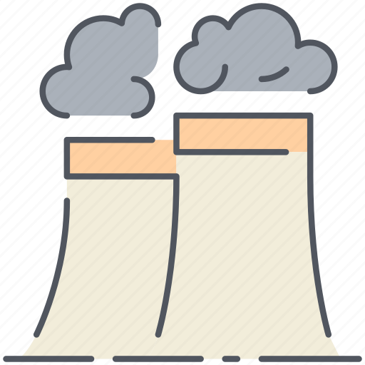 chimney, factory, industrial, industry, plant, pollution, production icon