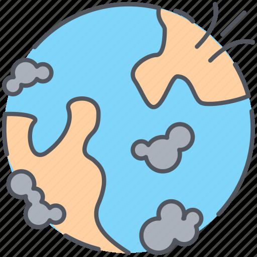 air, alert, danger, disaster, global, poluted, world icon