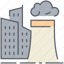 buildings, city, danger, factory, industry, polluted, pollution icon