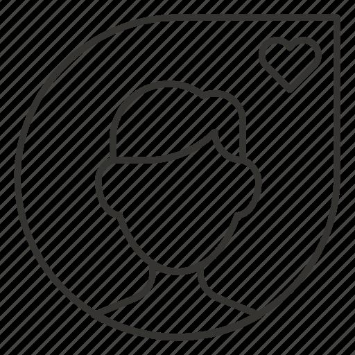 bookmark, favourite, heart, like, man, profile, user icon