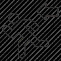 arrow, direction, evacuation, exit, left, output, run icon