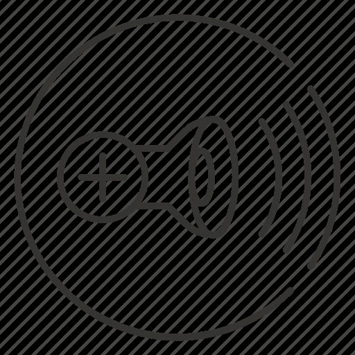 add, audio, loud, plus, sound, speaker, volume icon