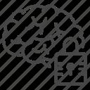 alzheimer, brain, disease, disorder, forgot, lock, memory icon