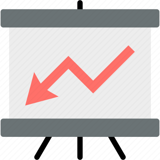 analytics, arrow, chart, down, graph, report, statistics icon